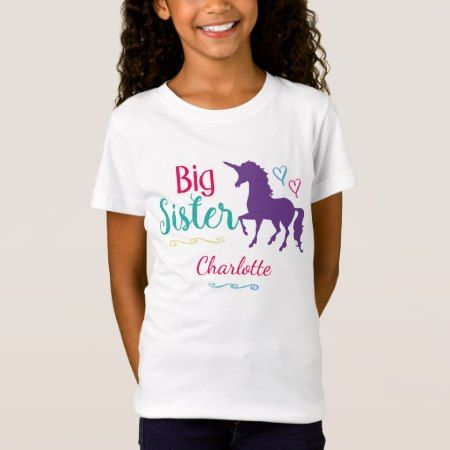 Kids Big Sister Unicorn Pretty Colorful Sisters T-Shirt - tap to personalize and get yours
