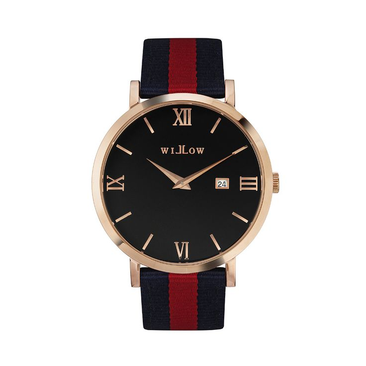 Roma Rose Gold Watch & Interchangeable Navy Blue & Red NATO Strap.