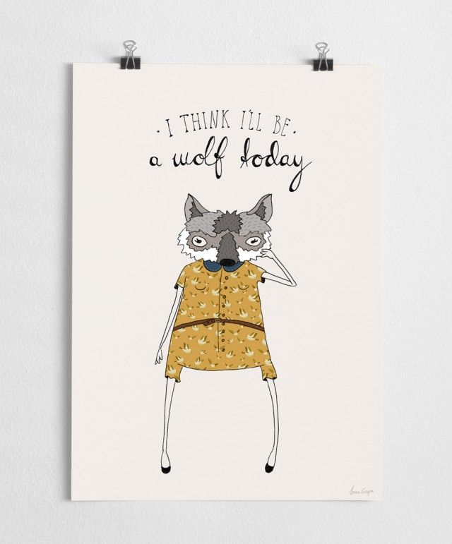 I think I'll be a wolf today - Art print #nordicdesigncollective #agrapedesign #nordicdesign #swedishdesign #print #poster #yellow