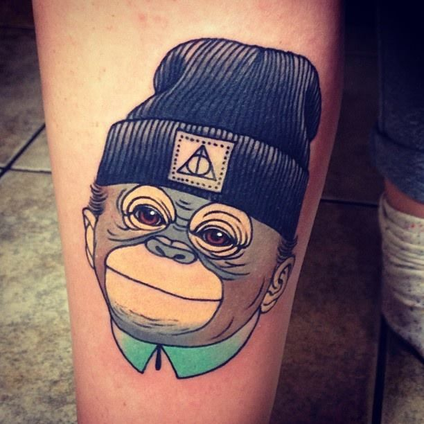 Tattoo Comic Affe mit Mütze