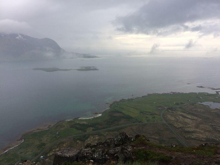 Hoven. Lofoten. Norway. Hiking. Trekking. Foggy