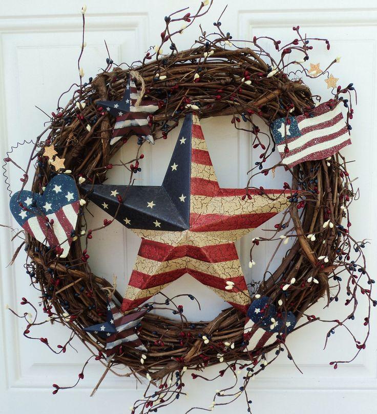 Use own star & wreath - pick up stars, flags, etc.  Patriotic Decorations | Primitive Patriotic Wreath Stars and Stripes Americana Folk Decor
