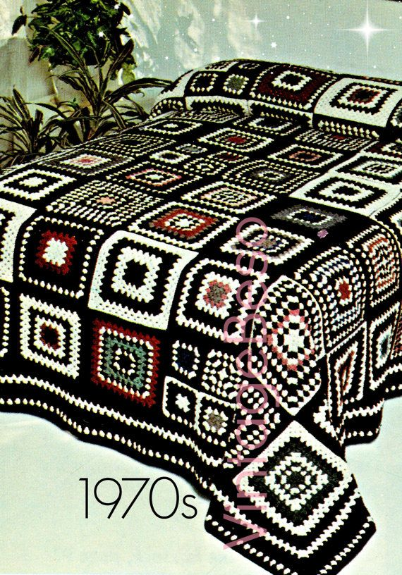 $1.00 BEDSPREAD CROCHET Pattern Home Crochet Patterns 1970s Granny Square Motif Style Afghan Crochet Pattern Bohemian Decor - Instant Pdf Patterns by VintageBeso