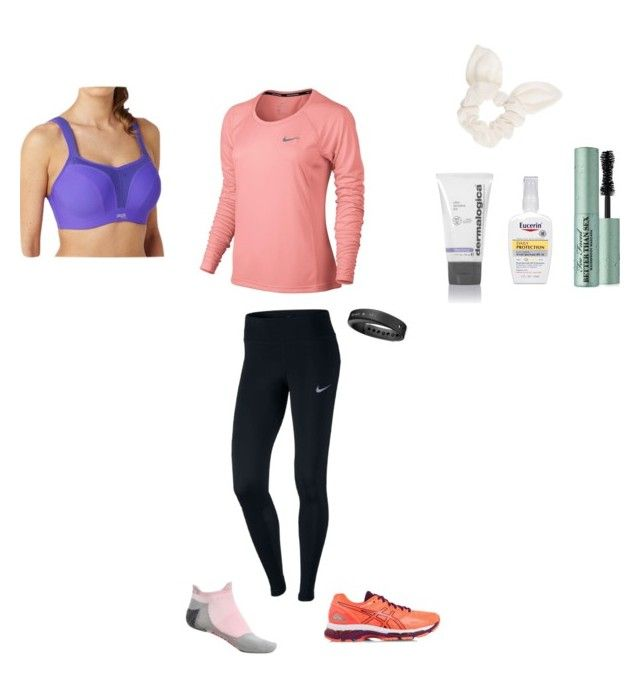 """""""Running Date"""" by oakesie on Polyvore featuring NIKE, Asics, Panache, Dorothy Perkins, Eucerin, Too Faced Cosmetics, Dermalogica, Falke and Garmin"""