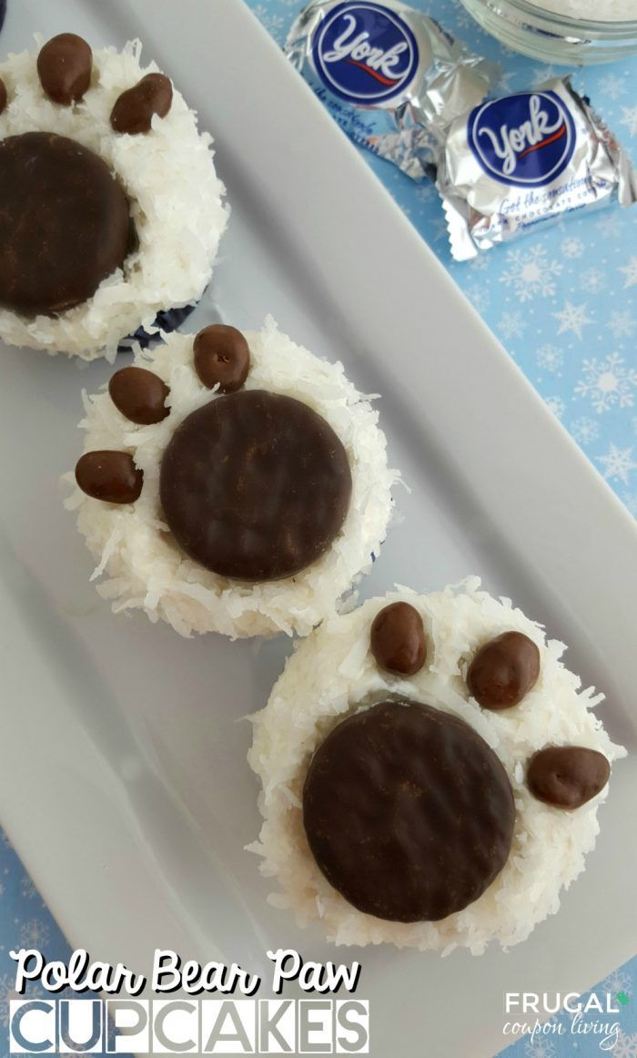 Polar Bear Paw Cupcakes on Frugal Coupon Living. Winter cupcake recipe.  Winter dessert recipe ideas for kids. Winter Kids Food Craft Idea using cupcakes.