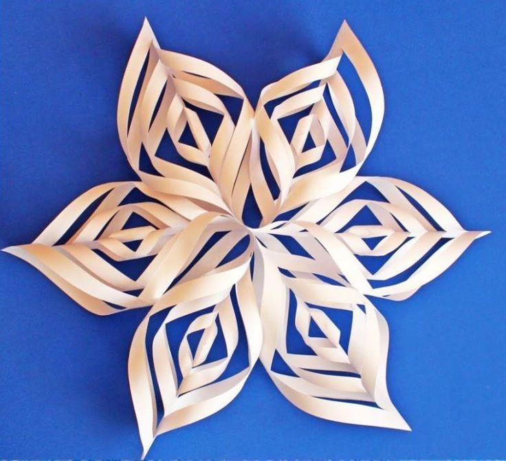 Объемная 3D снежинка из бумаги. Мастер-класс с фото  #рукоделие #поделки #хендмейд #новыйгод