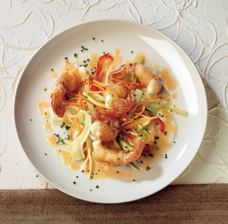 Lardo Wrapped Shrimps with Crisp Vegetables