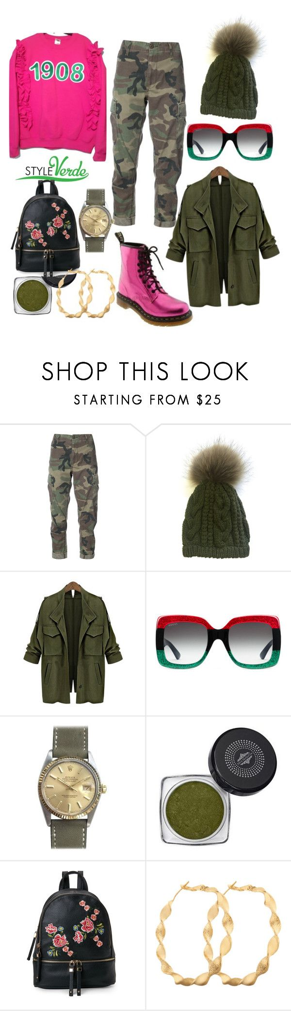 """Camo Flow"" by cagreinvented on Polyvore featuring Dr. Martens, RE/DONE, Linda Richards, Gucci, Rolex, Mia Bellezza and Urban Expressions"