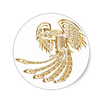 Golden Phoenix Rising Classic Round Sticker - golden gifts gold unique style cyo