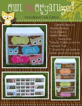 Owl Be Organized ( Woodland Owls Edition - Teacher Toolbox