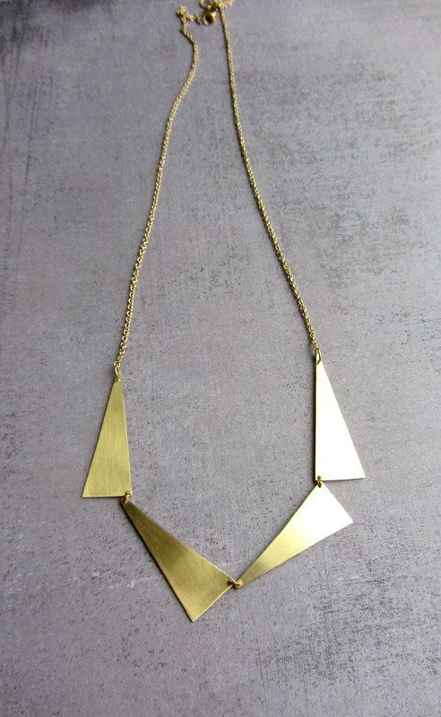 Geometric triangles gold brass long necklace. Gold plated chain. Four triangles