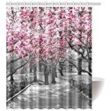 Amazon.com: House Decor Shower Curtain by Ambesonne, Sakura Blossom Japanese Cherry Tree Summertime Vintage Cultural Artwork, Polyester Fabric Bathroom Set with Hooks, 69W X 70L Inches Long, Red and Black: Home & Kitchen