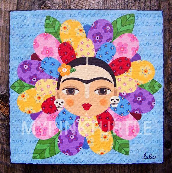 Frida Kahlo Multicolored Flower With Skulls Print Of Painting By LuLu Mypinkturtle At LuLuMypinkturtleArt On Etsy