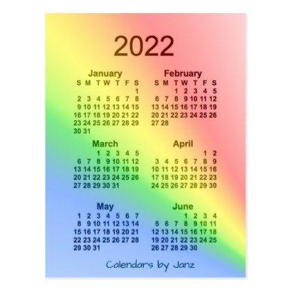 2022 Rainbow 6 Month Mini Calendar by Janz Postcard - birthday diy