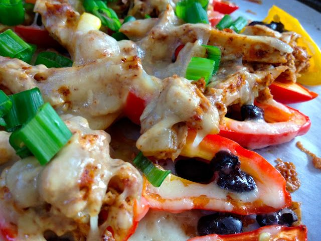 Shredded Chicken Nachos in Mini Bell Peppers--Low Carb!  South Beach Diet friendly?