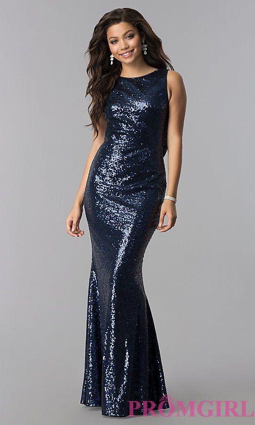 75533fa5b12f14 Long Sequin Cowl-Back Formal Prom Dress   I L I K E T H I S   Prom ...