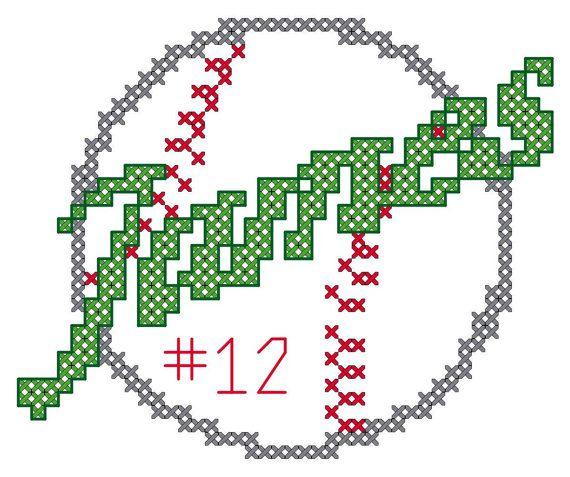 Cross Stitch Pattern Sports Baseball with by oneofakindbabydesign