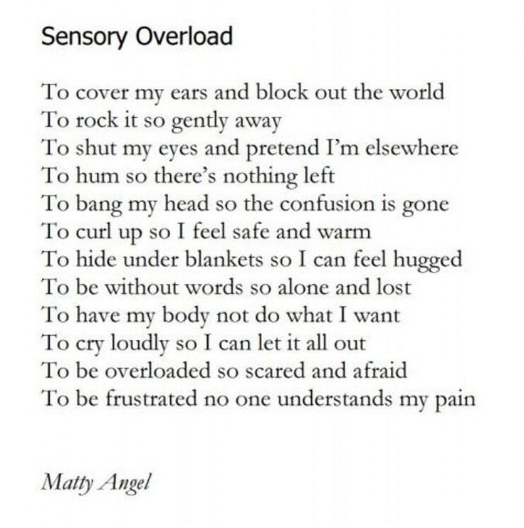 From a celebration for #WorldPoetryDay by the National Autistic Society @Dan Uyemura Alex is this poem 'Sensory Overload' was written by Matty Angel, a woman with autism who lives in supported accommodation