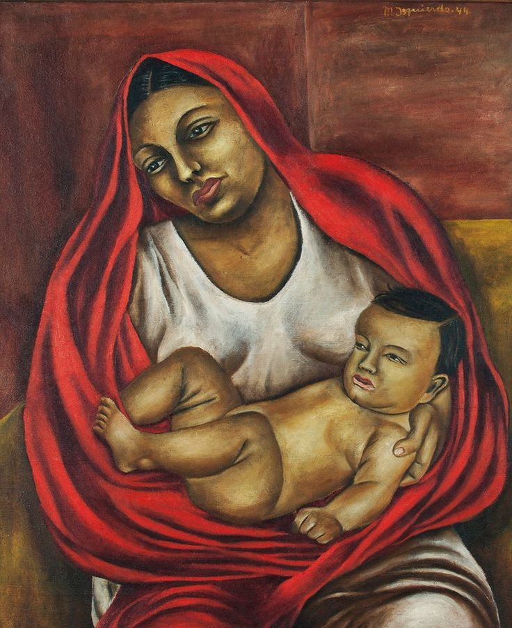 This painting is a self-portrait of the artist, María Izquierdo. She was among the first women in Mexico to earn her living as a professional painter. María Izquierdo (Mexican 1902-1955) Maternidad signed and dated 'M. Izquierdo. 44' (upper right) oil on canvas 33½ x 27 5/8 in. (85 x 70.2 cm.) Painted in 1944.