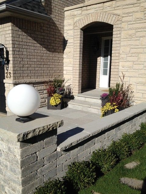 front entrance with natural stone