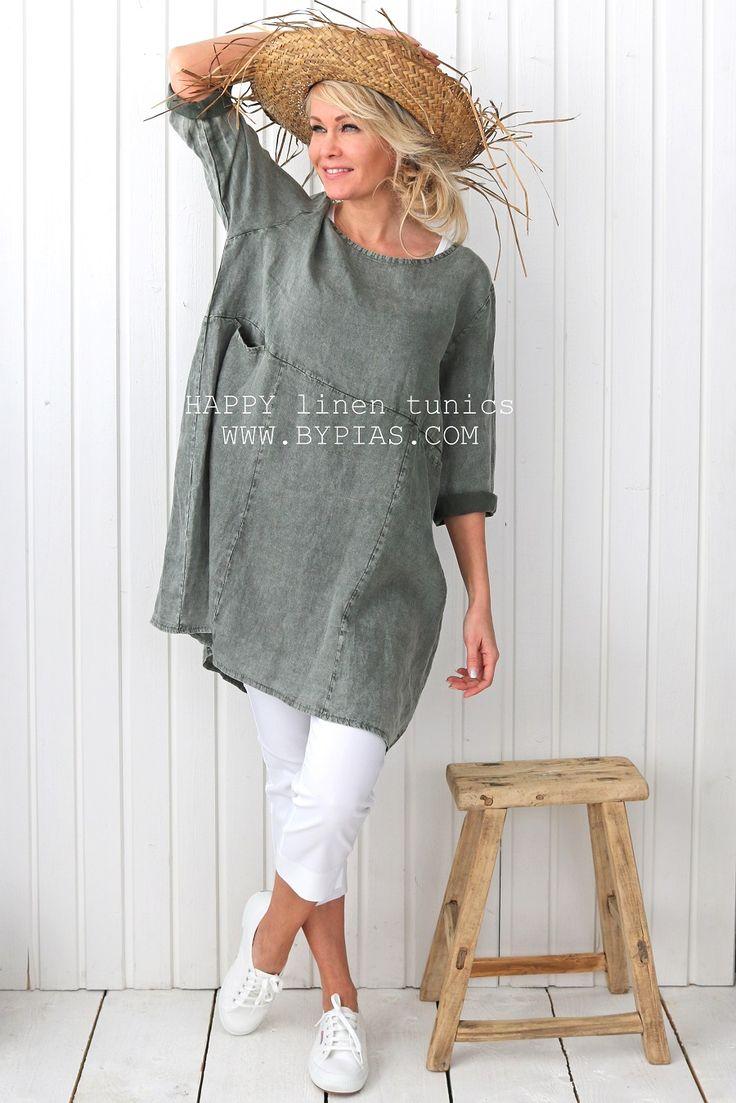 HAPPY Linen Tunic, PINE GREEN - BOHEMIANA - BYPIAS