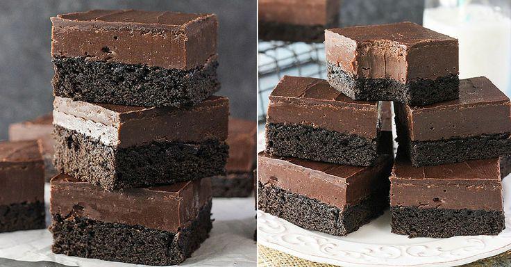 Něco pro čokoládové maniaky. Hutné kakaové řezy, které pokrývá vrstva…