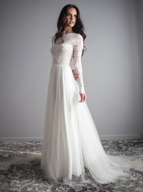 Long Sleeve Lace Wedding Dress With Silk Chiffon And Soft English Tulle Skirt Zoe Long Sleeve Wedding Dress Lace Boho Wedding Dress Lace Wedding Dresses Lace