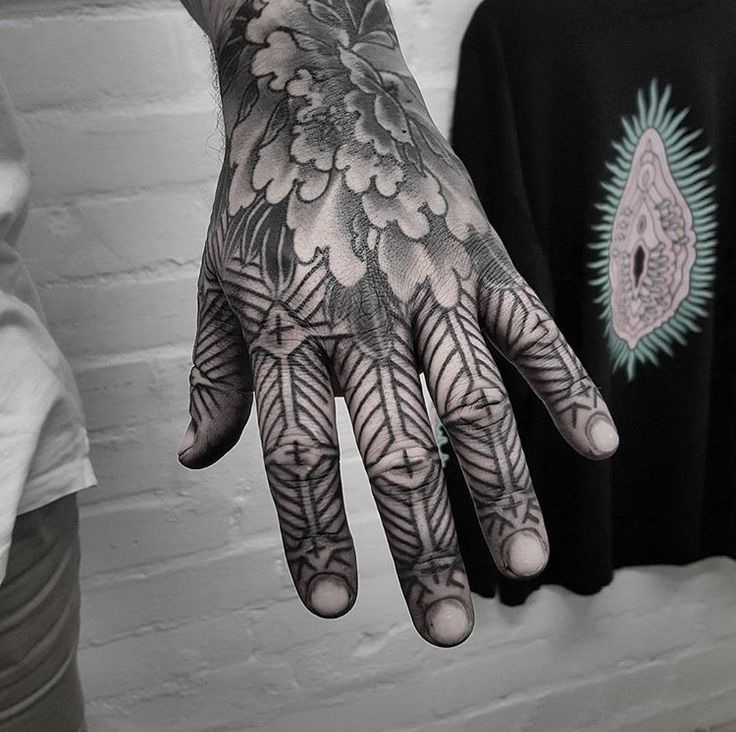 Tribal pattern hand tattoo done by Tristan (Dead Meat Tattoo) #sunsettattoonz www.sunsettattoo.co.nz