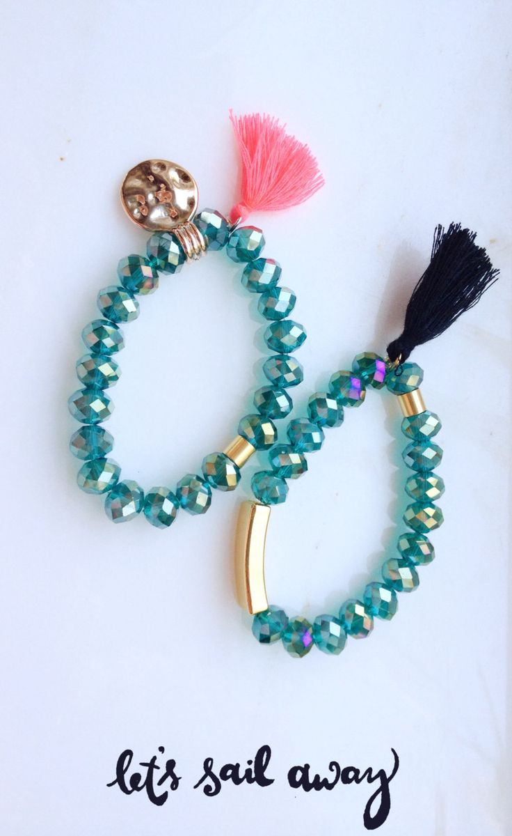 Crystal Tassel Charm Bracelet by Calliopesboutique on Etsy