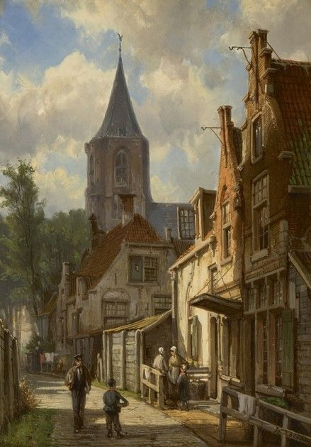 Willem Koekkoek (Amsterdam 1839-1895 Nieuwer-Amstel (thans Amstelveen)) Zonnig straatje met figuren - Kunsthandel Simonis en Buunk, Ede (Nederland).