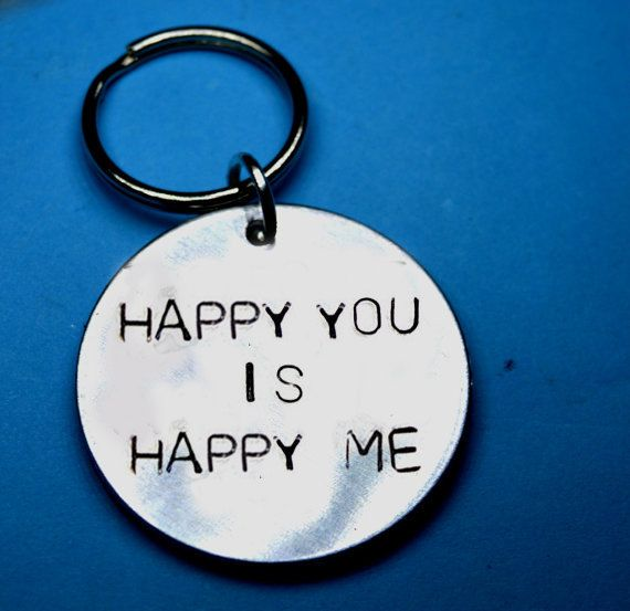 Gift for girlfriend, Happy gift, Romantic gift, Boyfriend keychain, boyfriend gift, girlfriend keychain, gift for husband, gift for wife by BeesHandStampedGifts on Etsy