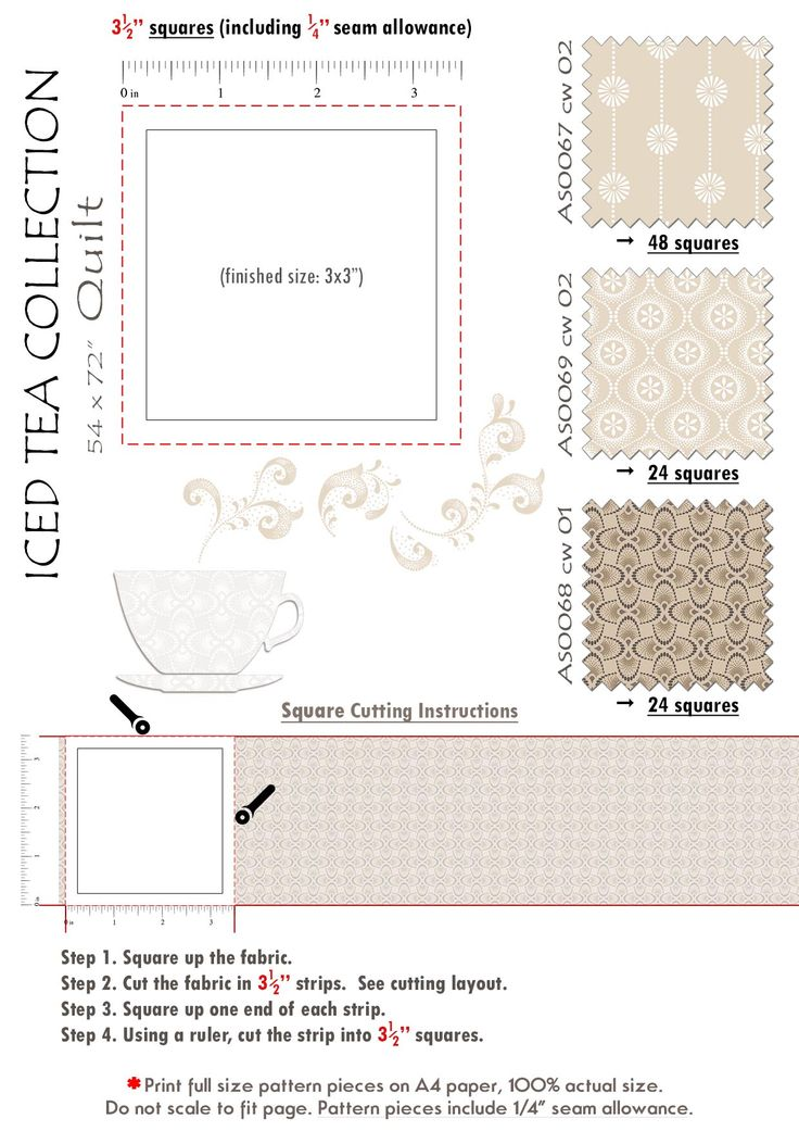 4 Iced Tea Collection Quilt pattern piece 1