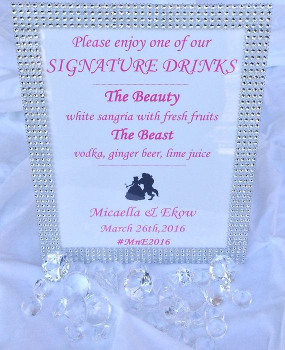 Bling Wedding Signature Drink Sign, Bride Signature Drink Sign, Groom Signature Drink Sign,Bar Sign,Wedding Drink Menu Sign.Wedding Cocktails Sign,Thank You Sign,Wedding Advice and Well Wishes  Sign,Bling Guestbook Sign,Bling Favor Sign,Luxury Sign,Glamour Sign,Bling Bridal Shower Sign,Bling Sweet 16 Sign,Bling Baby Shower Sign,Winter Wedding Sign,Bar Sign,Bling Candy Table Sign,Dessert Bar Sign,Sweets Table Sign,Wedding Favor Sign,Beauty and the Beast Signature Drink Sign