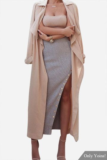 Pre Order!!!Grey Sexy Button Side Splited High Waist Maxi Skirt - US$12.99 -YOINS