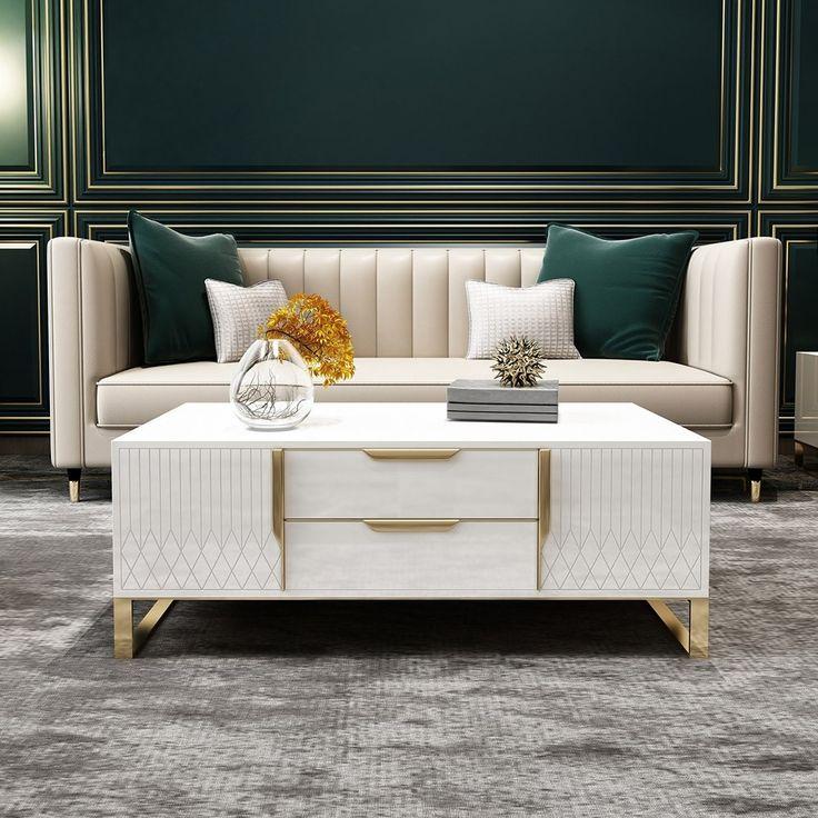 Aro white black coffee table with storage rectangular