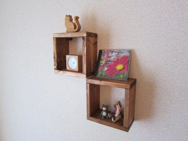 木の壁掛け棚(小2個)