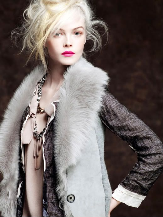 ZsaZsa Bellagio: Fur Coats, Faux Fur, Blonde, J Crew, Messy Hairs, Fur Vests, Pink Lips, Jcrew, Fall 2010