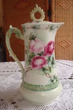 ANTIQUE LIMOGES T&V HAND PAINTED SIGNED CHOCOLATE / COFFEE / TEA POT, RED ROSES