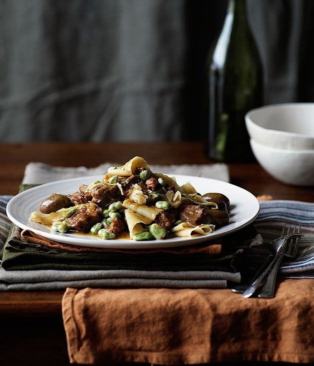 A recipe from Australian Gourmet Traveller for veal ragu served with fresh pappardelle pasta by chef Hugh Wennerbom.