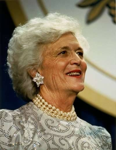 Barbara Bush.............  Ah, those pearls. What a lovely matriarch. The second First Lady to have a husband and son as President.  The second President also had a son that became President