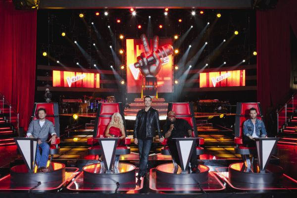 "i just can't get enough of ""the voice"" - great show with Carson Daly Christina Aguilera Cee Lo Green Adam Levine  Blake Shelton  Christina Milian"
