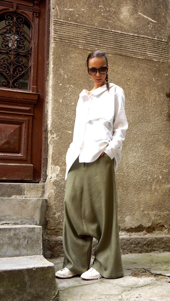 NEW Collection Loose Linen Olive Green Harem Pants / от Aakasha