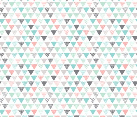 Geometric tribal aztec triangle pastel pink and blue modern patterns fabric by littlesmilemakers on Spoonflower - custom fabric