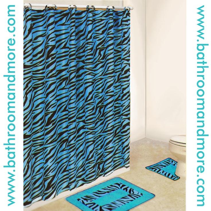 Zebra Print Aqua Blue Fabric Shower Curtain And Bathmat Set.