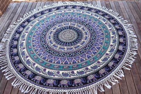 Good Luck Charm Mandala Beach Round Throw