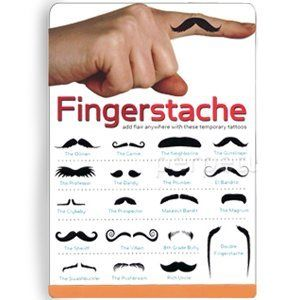 Fingerstache - Moustache Temporary Tattoos by cub. $4.31. Great for gift giving.. Great for parties!. Easy to apply.. 19 Stylish temporary tattoos.. Fingerstache is the latest craze sweeping Facebook profile pictures across the nation! Never heard of it? Allow us to fill you in...These temporary tattoos come in a variety of moustaches in one convenient pack! Choose your favourite, put it on your finger and hold it up to you top lip! Ideal novelty gifts for Birthdays, Christmas,...