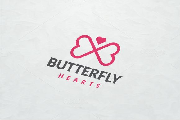 Butterfly Hearts Logo by yopie on @creativemarket
