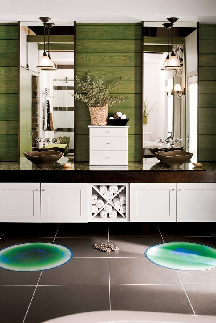 Merillat bathroom vanity - This Bathroom Fully Embraces Contrasts And Symmetry Dark And Light Curved Lines And Straight