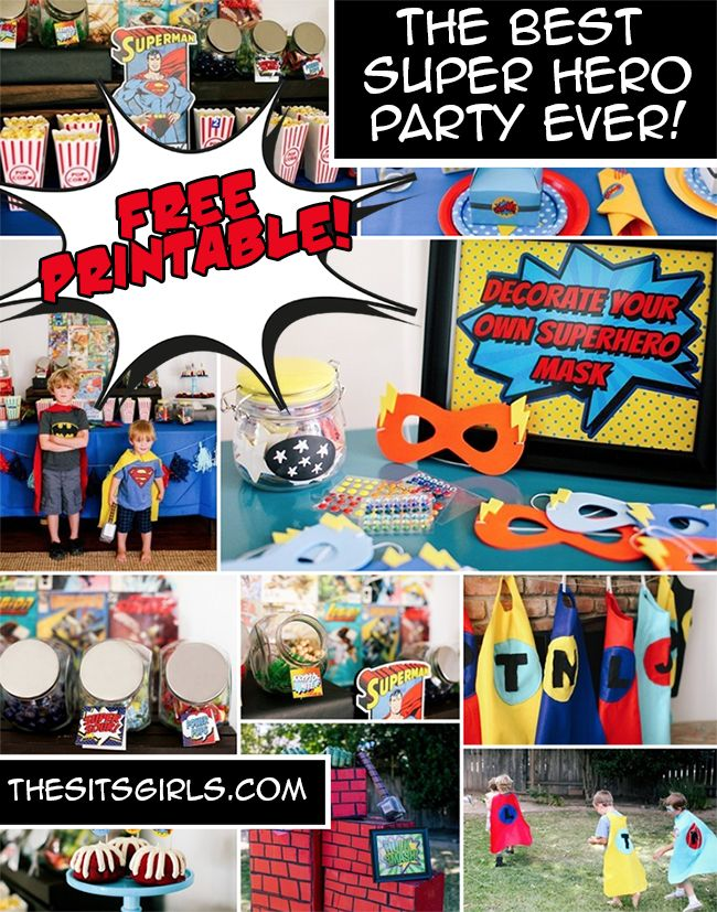 Everything you need to throw the best super hero birthday party! Includes a free printable and superhero party games, food bar, and other ideas to make your party a smash hit!   Super Hero Party Ideas