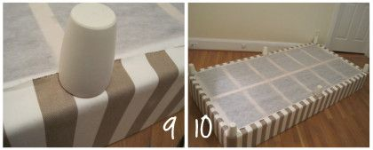 """Good-bye bedskirts... cover your box spring with fabric. Then add furniture feet for a """"faux"""" bed! Love!"""